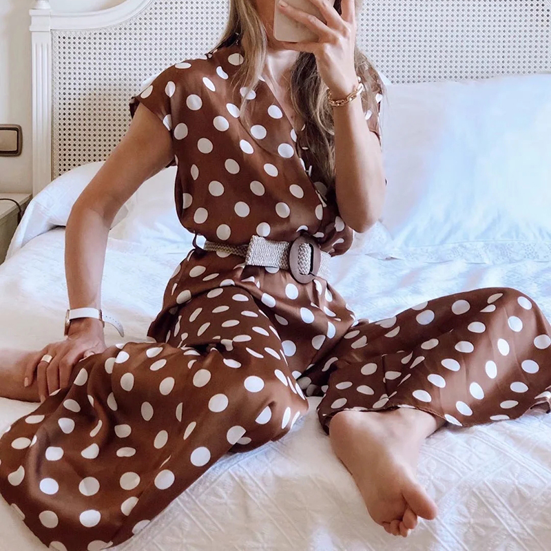 Hfc5b672edb7e4b5b89e4bf9df1f3844er - Elegant women polka dots looses jumpsuits with belt summer fashion ladies vintage boho rompers female chic jumpsuit girls