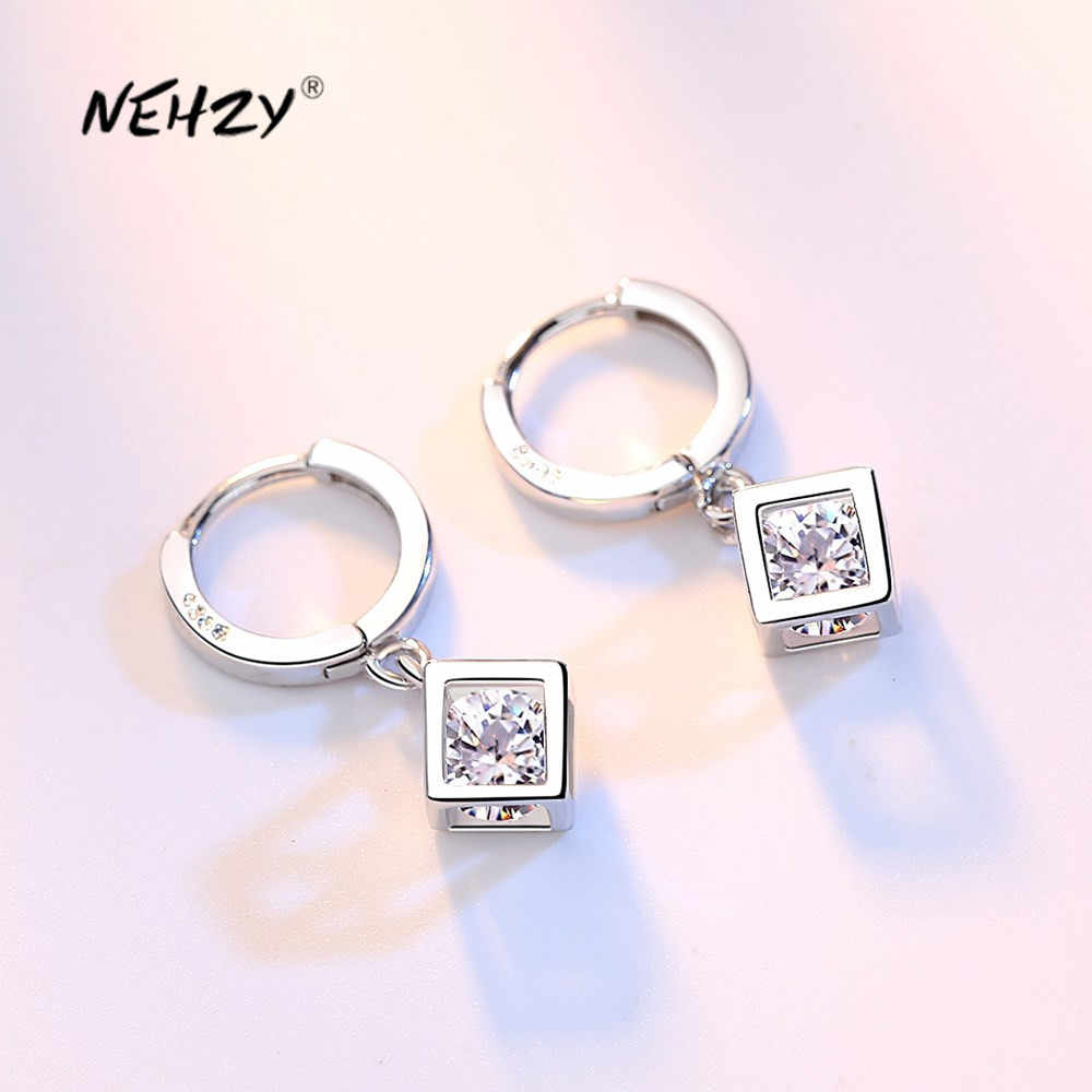 925 Solid Sterling Silver Minimalist Hollow Square Stud Earrings