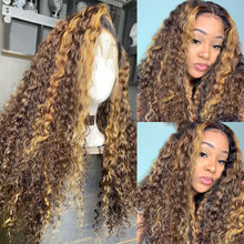 Highlight Curly Lace Front Wig Brazilian Remy Human Hair Wigs Pre-Plucked T Part Lace Wig 180% Ombre Blonde Curly Hair Wigs