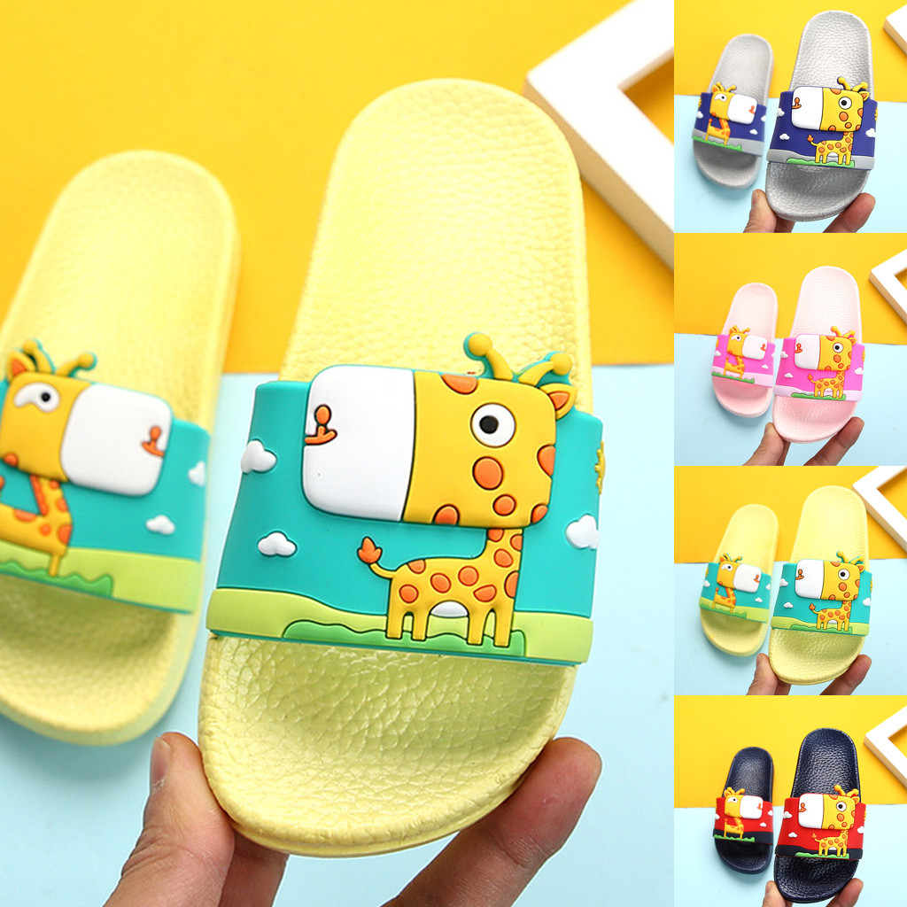 Summer toddler baby boys girls children's cartoon giraffe summer home indoor and outdoor bath non-slip sandals and slippers