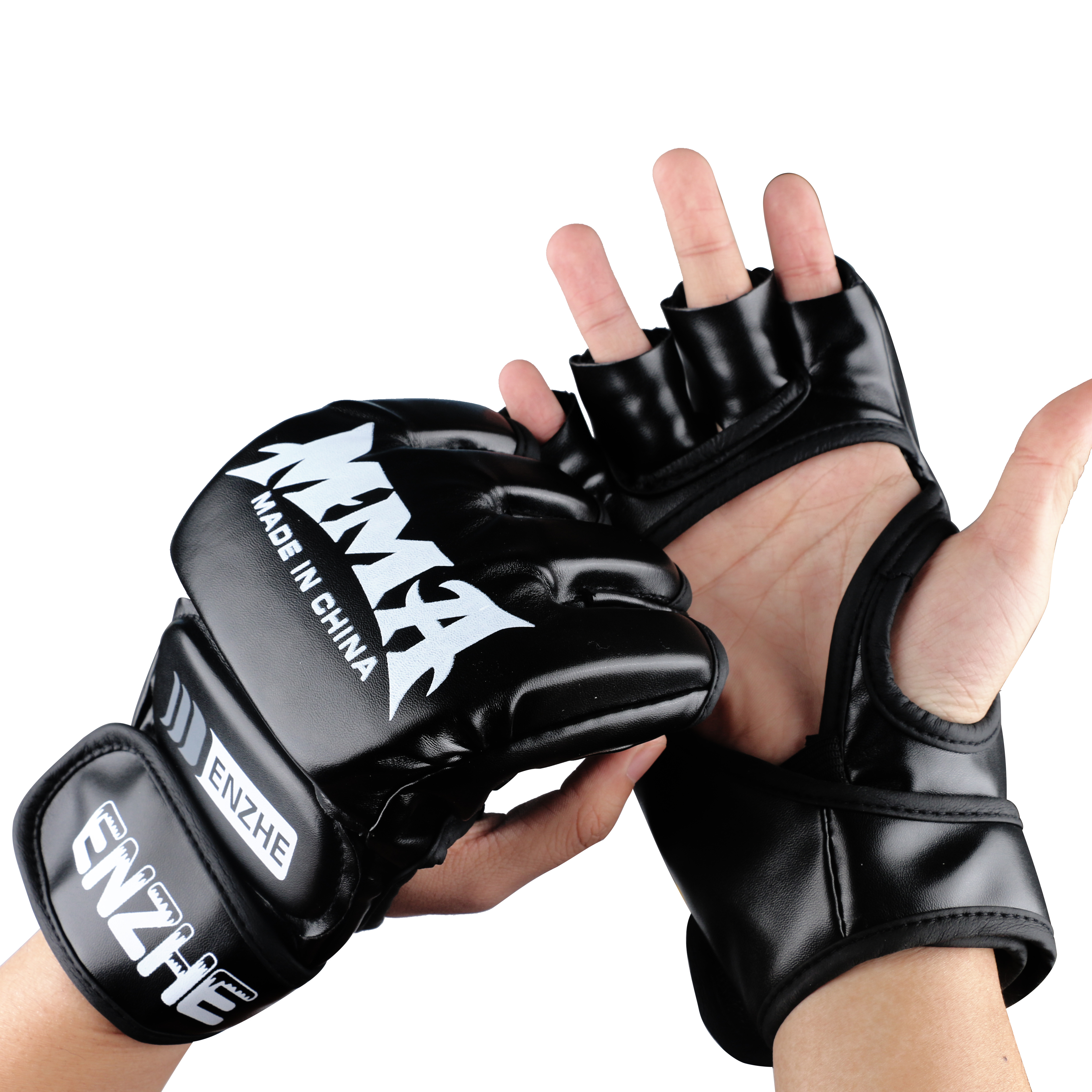 Luvas de Boxe Bolsa de Boxe Boxing para Treinamento de Luta pu de Couro Enzhe Luvas Meio Dedo Muay Thai Kick 1 Par Mma