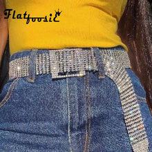 Flatfoosie Women Shiny Full Rhinestone Belt Female Waist Long Chain Bling Crysta