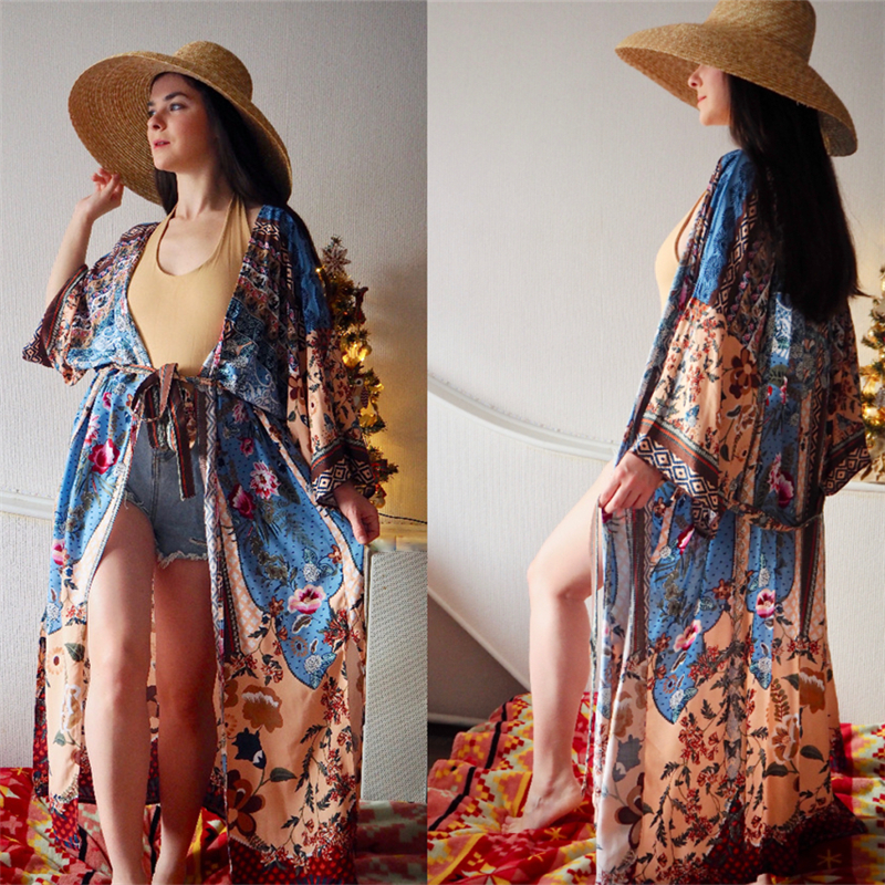 Hfc5bb0a3a1934ec2952dc25745858625s - Bohemian Printed Half Sleeve Summer Beach Wear Long Kimono Cardigan Cotton Tunic Women Tops Blouse Shirt Sarong plage N796