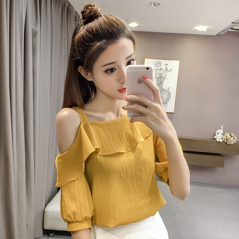 New Spring Fashion Sexy Style Solid Women Shirts Women Tops Short Sleeved Blouses Ruffles Casual Women Clothing D546 30 2