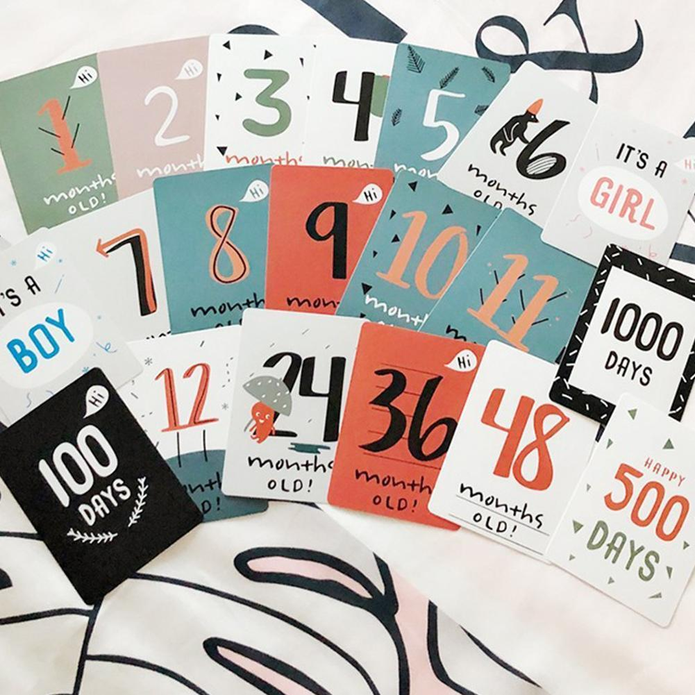20pcs/set Baby Photo Commemorative Card Month Sticker Baby Photography Number Birth Growth Card Props Days Milestone Gifts W9A2