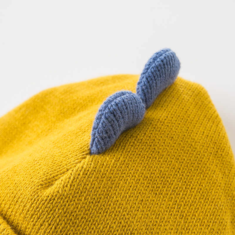 DBW11729 dave bella ฤดูใบไม้ร่วงฤดูหนาวเด็กทารก navy/สีเหลือง jacquard ผ้าฝ้ายหมวกขนสัตว์