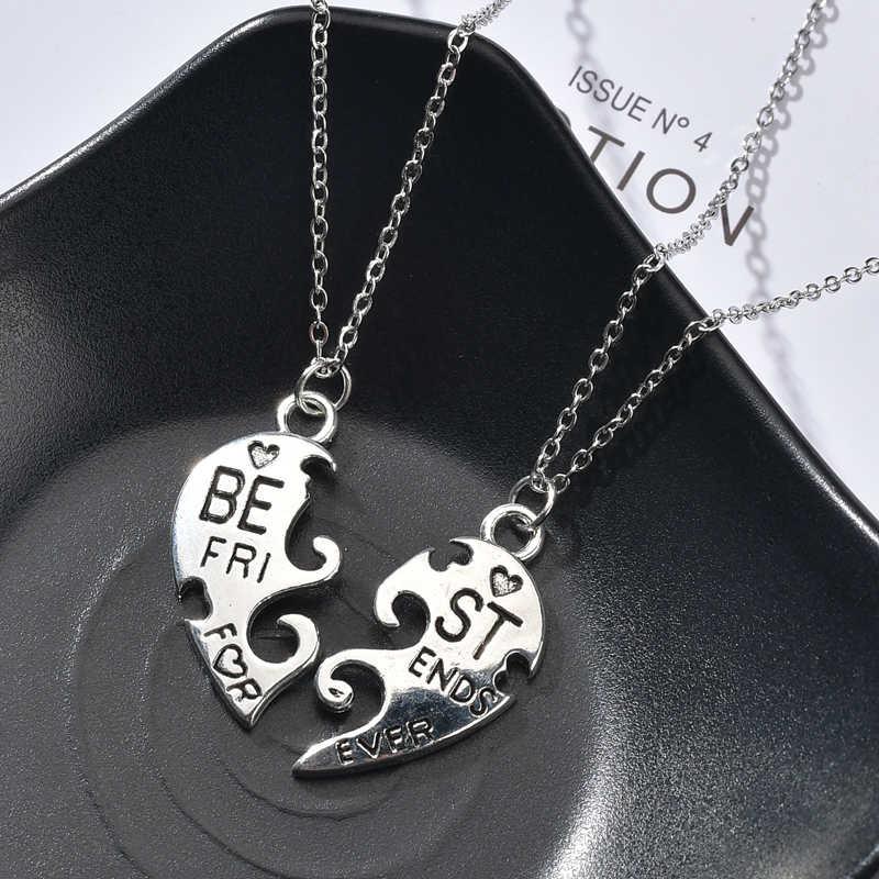 2Pc słodka tęcza naszyjnik z kluczem serce wisiorek naszyjnik miłośników srebrny naszyjnik dla kobiet Puzzle naszyjniki list komunikat biżuteria