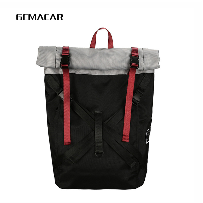 Large Personality Backpacking Backpack Oxford Cloth Bag Casual Art Unique Backpack Latest Rock Style Strong Quality Package Gray