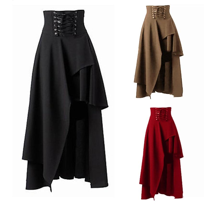 Lolita saia estilo vintage medieval, saia bandagem renascentista gótica fantasia festa trajes pirata saia drapada