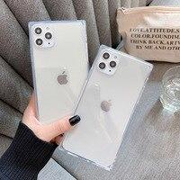 Funda de teléfono de diseño cuadrado para iPhone 12 Mini 12 11 Pro X XR XS Max 6 6s 7 8 Plus, funda de teléfono de TPU suave transparente de Color caramelo a la moda
