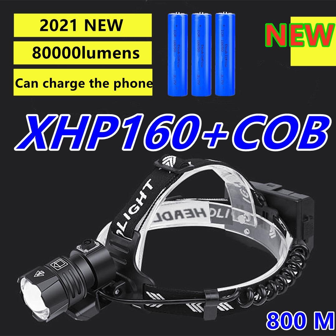 Новый XHP160 мощные светодиодные фары 800000lm голова фонарик Фонарь xhp70 лампы фар usb перезаряжаемые фары 18650 фонарь