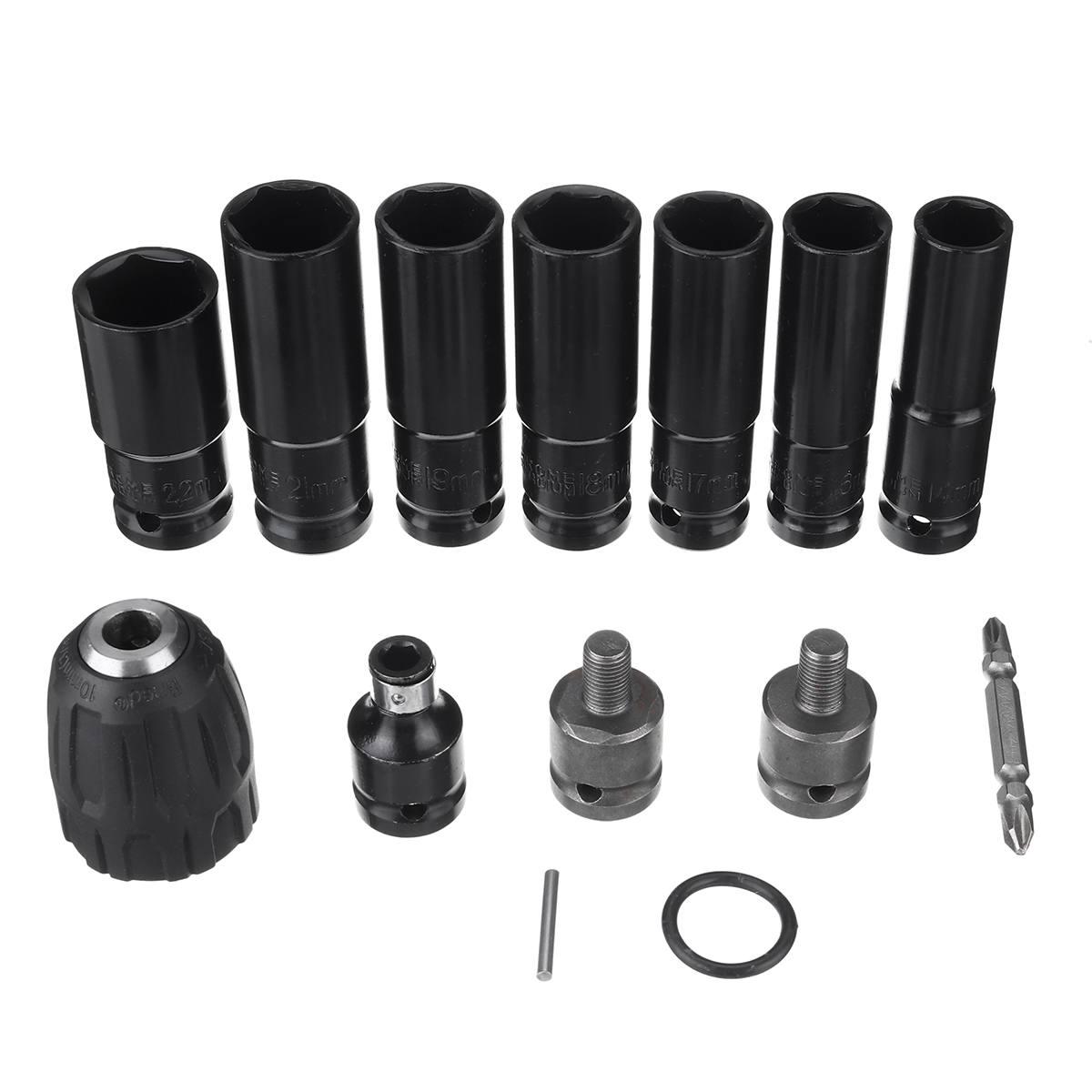 Adaptador de Chave Elétrica para Chave de Impacto 14 em 1 Luva Chave Elétrica Hex Soquete Cabeça Conjunto Kit Broca 7 14-22mm