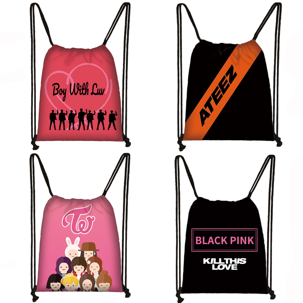 K-pop Blackpink Ateez Drawstring Bag Women TXT Twice Fashion Storage Bags Kpop Boy With Luv Backpack Girls Party Shopping Bag