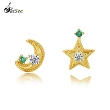 SaiSee 925 Sterling Silver Cute Star and Moon CZ Zircon Stud Earrings Gold Color Small For Women Jewelry Top Quality