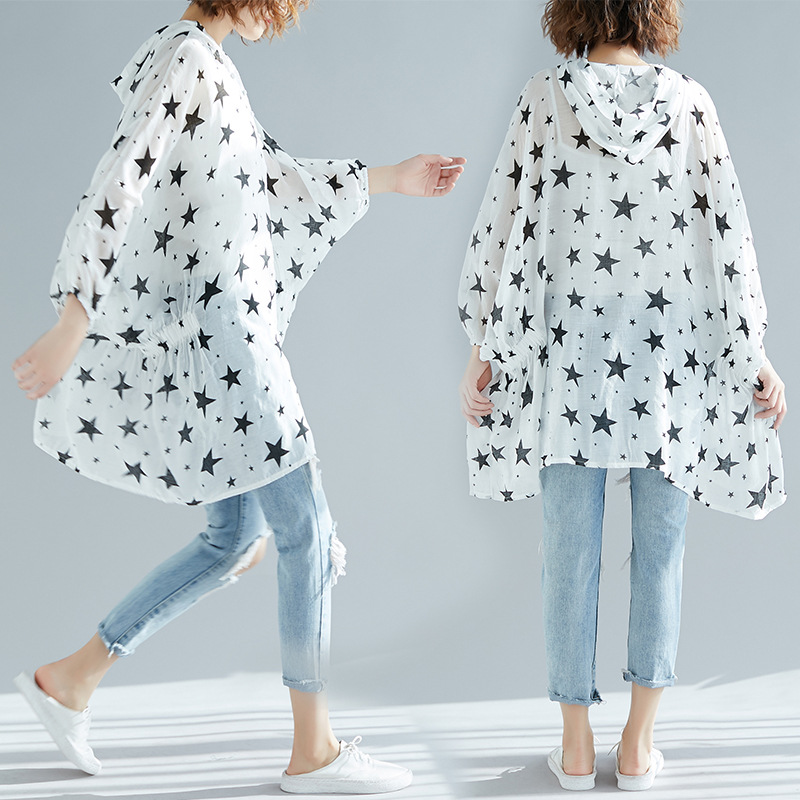 Photo Shoot 2019 Literature And Art Large Size Casual Five-pointed Star Dress Sun Shirt Limit 48