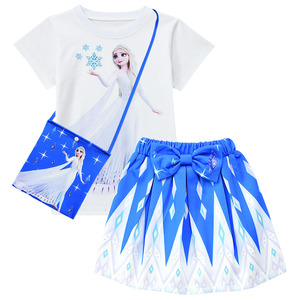 Toddler Girl Elsa Costume Cosplay T-shirt+dress with Bag Clothes Sets Summer Baby Kids Princess Snow Queen Children Clothing(China)