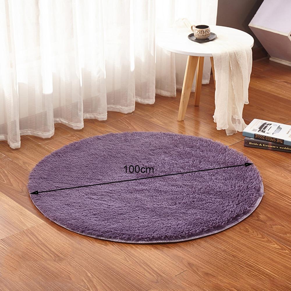 100cm Round Home Textile Shaggy Carpet Anti Skid Rug Shower Bedroom Mat Door Floor Carpet Round Rug Options Washable Area Rug in Carpet from Home Garden