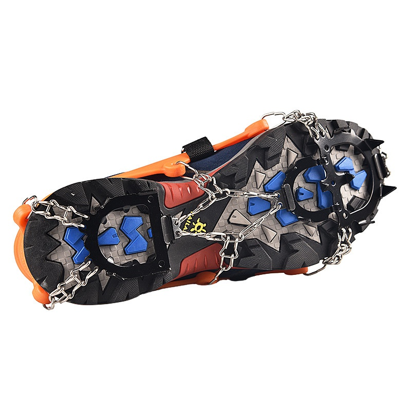 2PCS Ice Cleats Crampons Traction Snow Grips For Boots Shoes Anti-Slip 12-Spikes Safe Protect For Hiking Climbing Mountaineering
