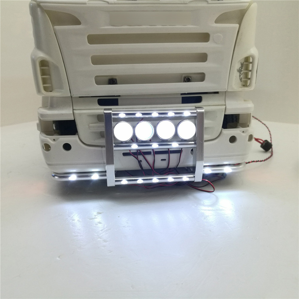 Aluminum Alloy Front Bumper with 22 Lights For 1:14 Tamiya Scania Series Tractor 620 56323 730 Front Bumper RC Truck Parts