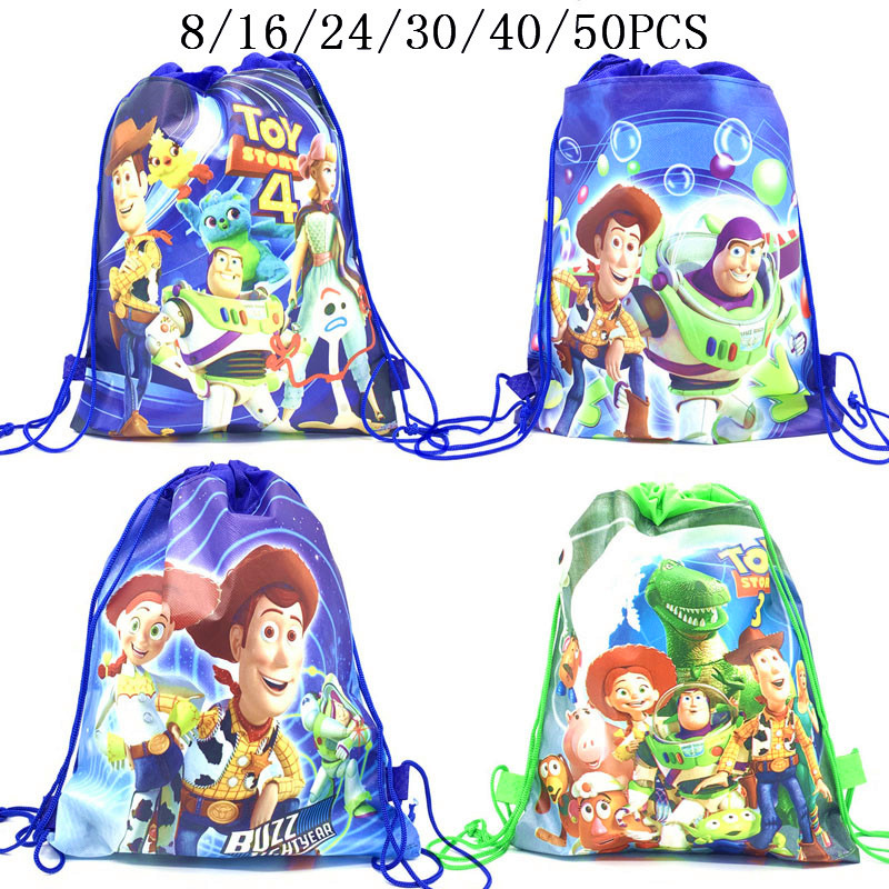 8/16/24/50PCS Disney Toy Story 4 Drawstring Bag For Girls Travel Storage Package School Backpacks Children Birthday Party Favors