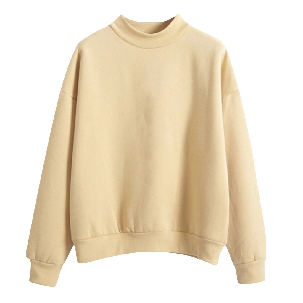 Velvet Women Sweatshirt Autumn Harajuku Style Lovely Solid Color Fleece Winter Hoodies Turtleneck Pastel Colors Jumper Tracksuit 5
