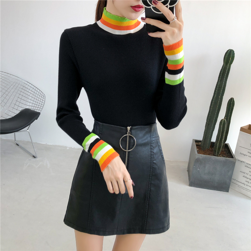 Turtleneck Popular All Match Female Fashion Warm Knitted Sweater Pullover Autumn Knitwear Sueter Mujer Long Sleeve Women New