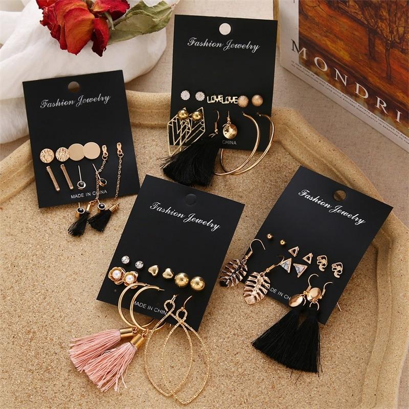 FNIO Women's Earrings Set Pearl Earrings For Women Bohemian Fashion Jewelry 2020 Geometric Crystal Heart Stud Earrings 3