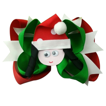5 inch Mix Colors Hair Bows Cartoon girl with Christmas hat girls Clip gift
