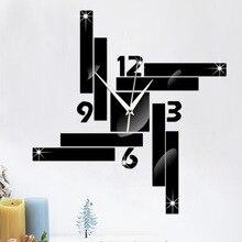 3D DIY New Wall Clock Modern Design Watch Europe Horloge Acrylic Mirror Stickers Irregular Rectangle Living Room Quartz Needle