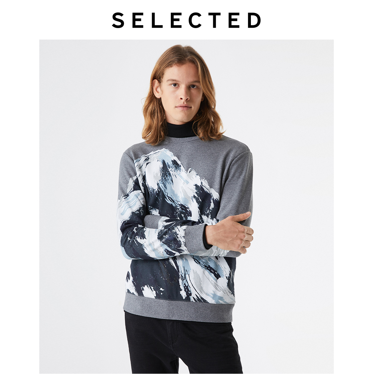 SELECTED Men's Autumn 100% Cotton Printed Long-sleeved Sweatshirt S|41934D516