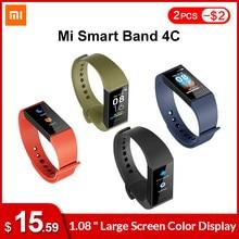Inglês versão xiaomi mi banda 4 c 4c smartband freqüência cardíaca rastreador de fitness 1.08
