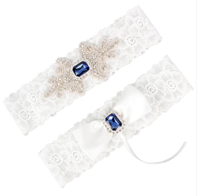 Wedding Bridal Garter Set Somthing Blue Crystal Rhinestone Ribbon Bow White Lace Toss Garter Set