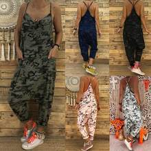 Mode Tarnung Ärmellose Sexy Sling Backless Overall Baggy Casual Lose Streetwear Dame Lange Hosen Geeignet für strand(China)