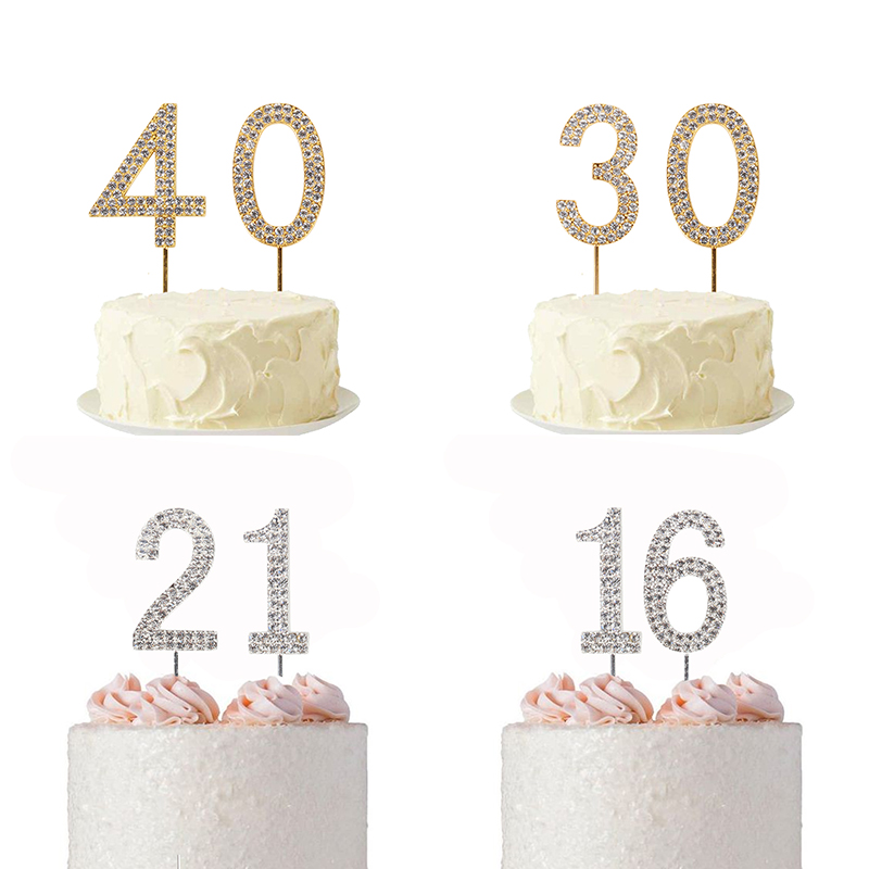 Gold Silver <font><b>0</b></font> 1 <font><b>2</b></font> <font><b>3</b></font> 4 <font><b>5</b></font> 6 7 8 9 Number Toppers Sparkly Crystal Rhinestone Diamond Topper for Birthday Party Cake Topper Supplies image