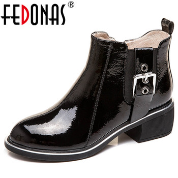 FEDONAS New Side Zipper Short Boots Quality Cow Patent Leather Women Ankle Boots Buckle Decoration Winter Warm Basic Shoes Woman