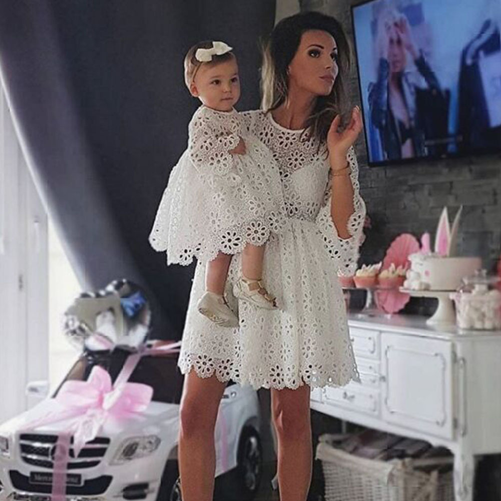 Family Matching Outfits Autumn Fashion White Hollow Lace 3/4 Sleeve Dress Mother And Daughter Party Dress