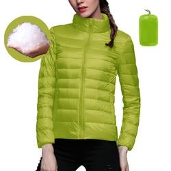 2020 Women Down Jackets Coats Velvet Warm Down Ultra Light Hooded Jackets Long Sleeve Slim Parka Solid Portable Outwears Female