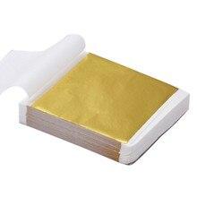 9x9cm 100 feuilles pur brillant feuille d'or feuille papier pour dorure lignes de meubles mur artisanat artisanat dorure décoration #5