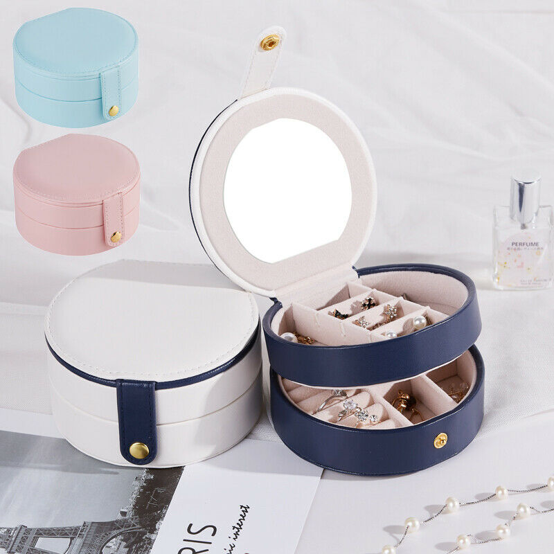 Portable Earring Storage Carrying Case Round Jewelry Box Travel Zipper PU Leather Jewellery Packaging Display Organizer Gift Box