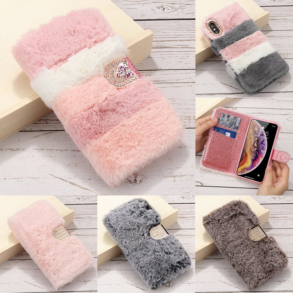 Fluffy Leather Wallet Phone Cover for Iphone 11 12 Pro Xr Xs Max X SE2 2020 Slim Soft Fur Case for Iphone 6 6S 7 8 Plus 5 5S