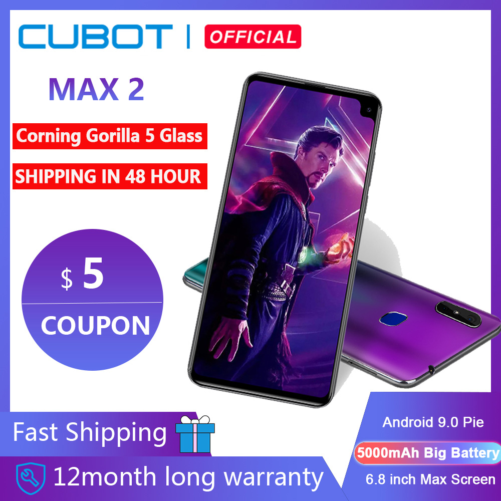 Cubot Max 2, Android 9,0, Восьмиядерный, 6,8 дюйма, 5000 мАч, смартфон Corning Gorilla Glass Type-C, 4 Гб + 64 ГБ, двойная камера, 12 МП, 4G LTE, Face ID