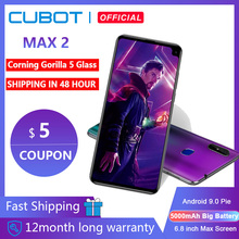 "Cubot Max 2 Android 9.0 Octa Core 6.8"" 5000mAh Smartphone Corning Gorilla Glass Type C 4GB+64GB Dual Camera 12MP 4G LTE Face ID"