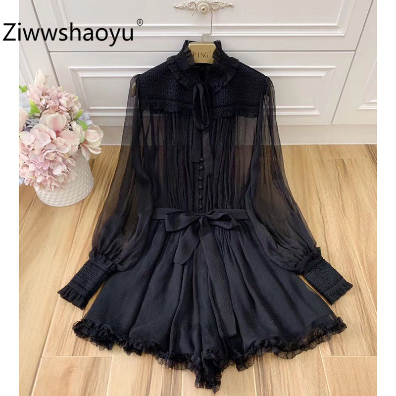 Ziwwshaoyu Sexy Party Summer Silk Black Ruffled Lantern Sleeve Jumpsuits Playsuit Overalls Women's High Quality Clothing 2020