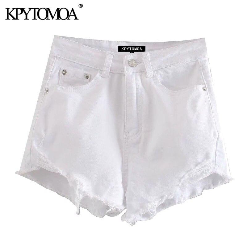 KPYTOMOA Women 2020 Sexy Fashion Frayed Hems Pockets Denim Shorts Vintage High Waist Zipper Fly Female Short Pants Jeans Mujer