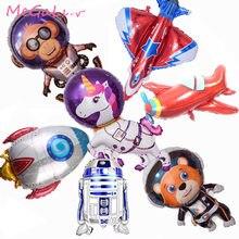 1PC kosmos Party balony jednorożec astronauta Rocket balony foliowe Galaxy Theme Party Birthday Party Decor dzieci helem Globals
