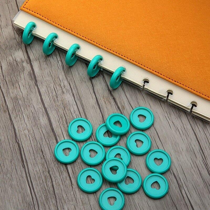 30PCS Colourful Heart-Shaped Binding Disc Buckle Mushroom Hole Binder Plastic Ring Loose-leaf Disc Buckle 23MM Clip Ring Binder