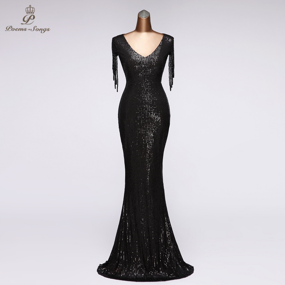 Elegant Sequin Evening Dress Party Dresses Robe De Soiree Vestidos De Noche 2020 Prom Long Dress Women Dress