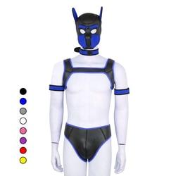 Puppy Spielen Hund Bondage Haube Maske Kragen Armband Ass Ausgesetzt Unterhose Cosplay Harness Sexy Homosexuell SM Set Slave Pup Rolle spielen