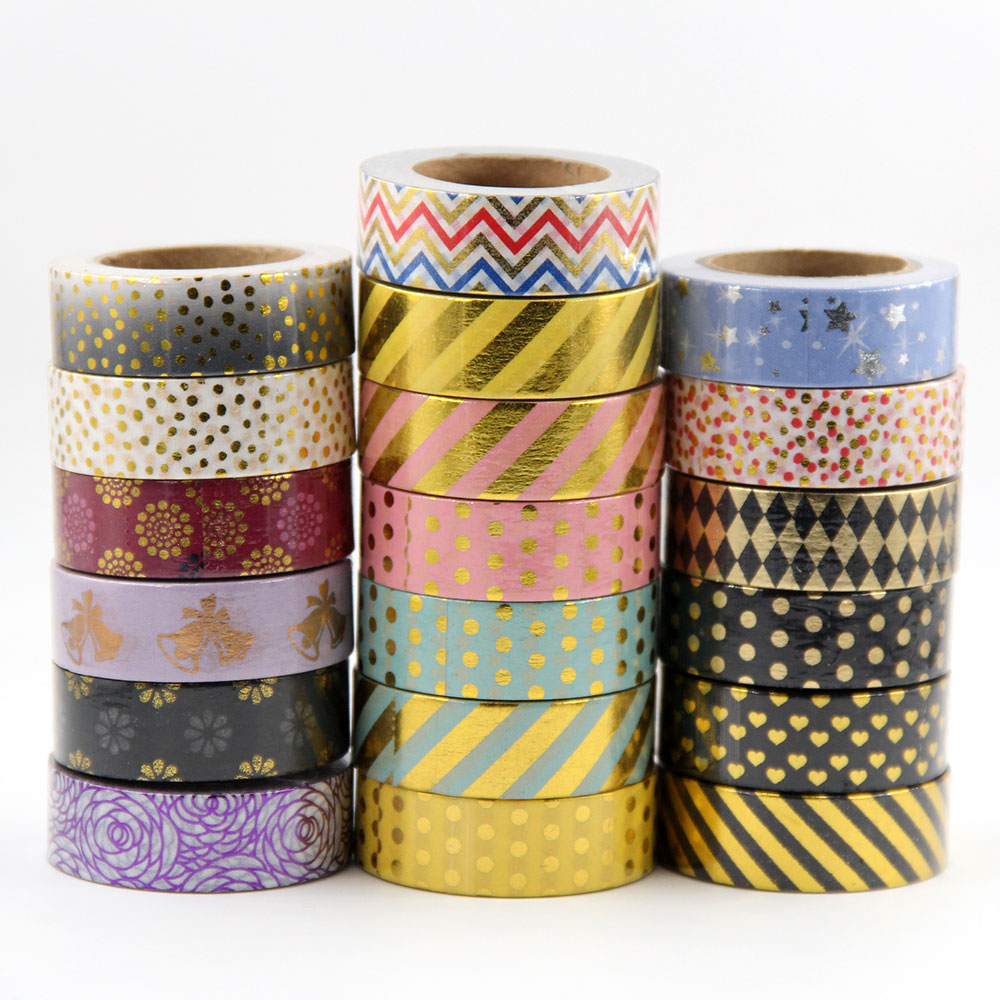 G61-G90 1pcs Foil Washi Tape Quality Stationery Diy Scrapbooking Photo Album School Tools Kawaii Scrapbook Paper Stickers Gift