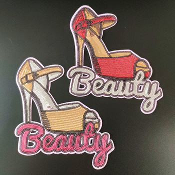 T shirt Women biker patch sequins fabric 210mm high-heeled shoes deal with it iron on patches for clothing stickers freeshipping image